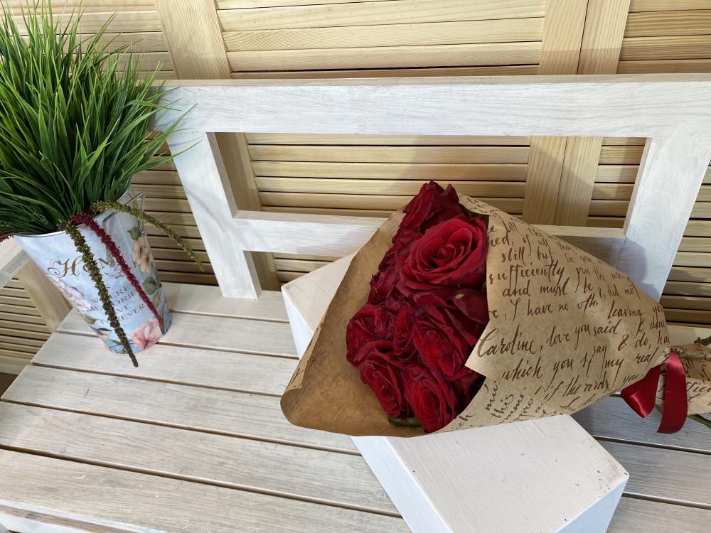 Розы 15  шт. бордо из Эквадора - 2